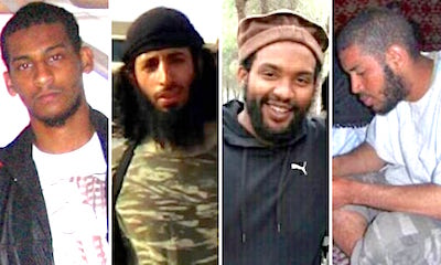 The four British men who joined IS in Syria, and became torturers and executioners. From L to R: El Shafee Elsheikh, Mohammed Emwazi, Aine Davis and Alexanda Kotey.