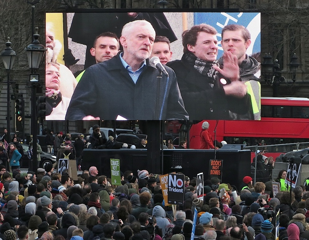 Jeremy Corbyn speaking at the Stop Trident rally in Trafalgar Square on February 27, 2016 (Photo: Andy Worthington).