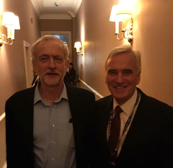 Jeremy Corbyn and John McDonnell in Brighton during the Labour Party Conference 2015 (photo from John's Twitter page).