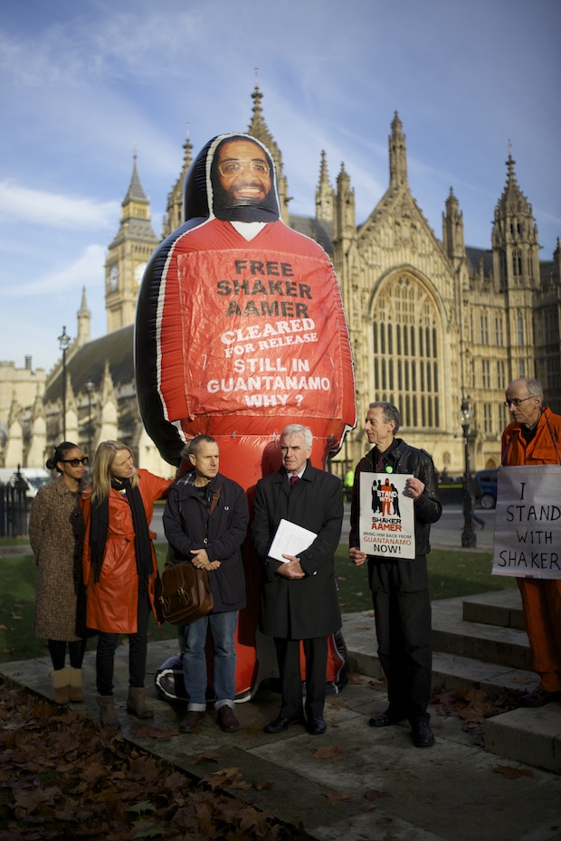 John McDonnell MP, a tireless campaigner for Shaker Aamer and the chair of the Shaker Aamer Parliamentary Group, at the launch of the We Stand With Shaker campaign outside Parliament on November 24, 2014, with, to his right, Joanne MacInnes and Jeremy Hardy, and, to his left, Peter Tatchell (Photo: Stefano Massimo).