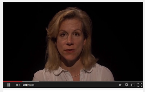A screen shot of Juliet Stevenson from the short film the We Stand With Shaker campaign made for Human Rights Day, of Shaker Aamer's Declaration of No Human Rights, written in Guantanamo.