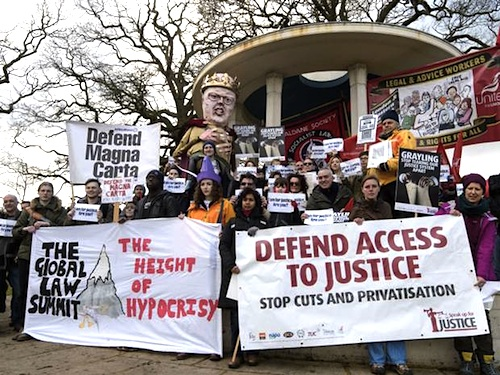 The Justice Alliance prepares to set off from Runnymede for the Houses of Parliament on a three-day Relay for Rights on February 21, 2015 (Photo: Fiona Hanson for the Independent).