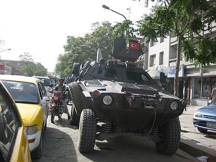 An armored vehicle on the streets of Kabul