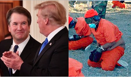 Judge Brett Kavanaugh, Donald Trump and a close-up of Guantanamo prisoners photographed on the day the prison opened, January 11, 2002. The photo on the left is an edit of a photo by Mandel Ngan/AFP/Getty Images.