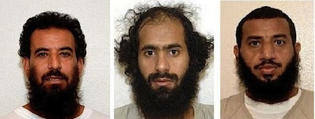 Three of the five prisoners released from Guantanamo and given new homes in Kazakhstan in December 2014. From L to R: Adel al-Hakeemy, a Tunisian, and two Yemenis, Mohammed Ali Hussain Khenaina and Sabri Mohammad Ibrahim al-Qurashi, in photos included in the classified US military files released by WikILeaks in 2011. No public photos exist of the other two men freed.