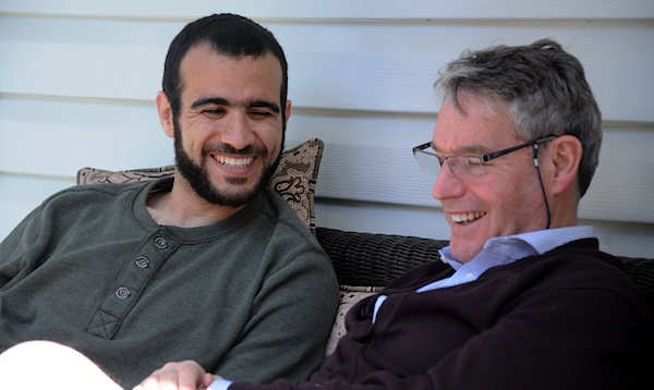 Omar Khadr with Dennis Edney on May 9, 2015 (Photo: Michelle Shephard/Toronto Star).