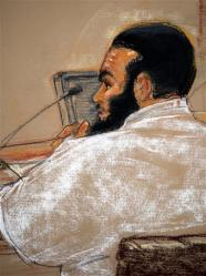 A courtroom sketch by Janet Hamlin of Omar Khadr at his pre-trial hearing in Guantanamo, July 15, 2009