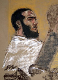 Omar Khadr at his hearing on June 1, 2009. Courtroom sketch by Janet Hamlin.