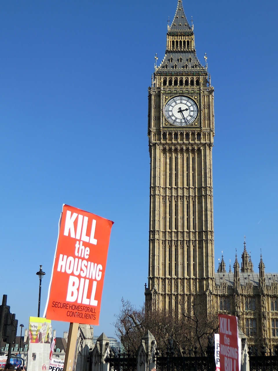 Kill the Housing Bill: a poster by Big Ben during the march against the Tories' wretched new Housing Bill on March 13, 2016 (Photo: Andy Worthington).