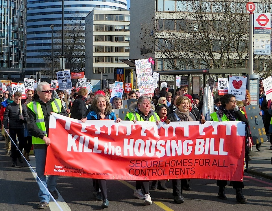 Campaigners on a Kill the Housing Bill march in London on March 13, 2016 (Photo: Andy Worthington).