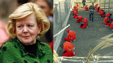 Judge Colleen Kollar-Kotelly and a photo of the prison at Guantanamo Bay on the day of its opening, Jan. 11, 2002.