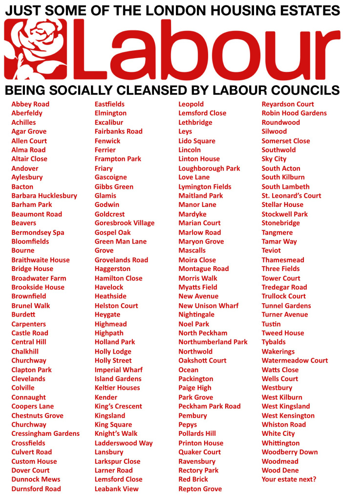 "170 council estates ""under threat of or already condemned to privatisation, demolition and social cleansing by Labour councils"", via the excellent Architects for Social Housing (ASH)."