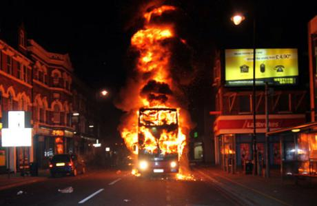 A photo of the London riots in August 2011.