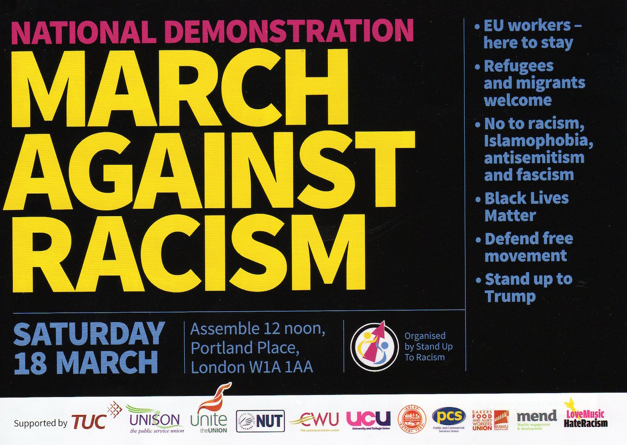 The March Against Racism poster for the national demo on March 18, 2017.