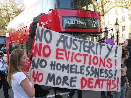 "A photo from the ""March for the Homeless"" in London on April 15, 2015 (Photo: Andy Worthington)."