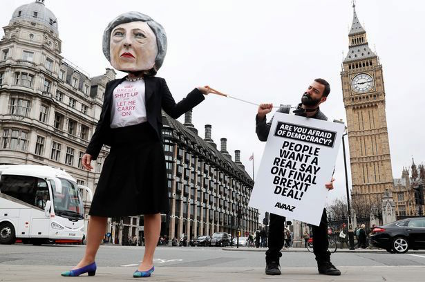 Protesters outside parliament in March 2017, as Theresa May triggered Article 50 of the Lisbon treaty, beginning the two-year process of the UK leaving the EU.