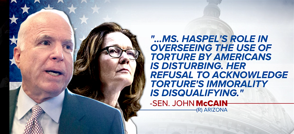 Sen. John McCain gives his reason for refusing the nomination of Gina Haspel as the next Director of the CIA (graphic by CBS News).