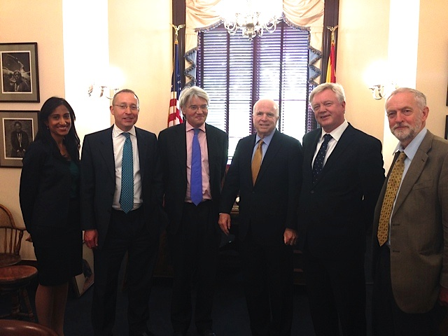 The delegation of British MPs who traveled to Washington, D.C. to call for the release of Shaker Aamer from Guantanamo at a meeting with Sen. John McCain on May 20, 2015. From L to R: Alka Pradhan of Reprieve, Andy Slaughter MP, Andrew Mitchell MP, Sen. John McCain, David Davis MP and Jeremy Corbyn MP.