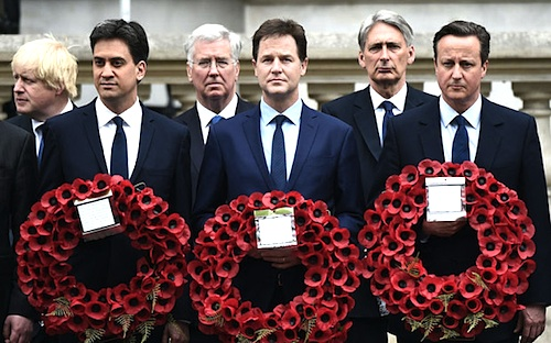 Ed Miliband, Nick Clegg and David Cameron at the Cenotaph on May 8 for a VE Day memorial, marking the 70th anniversary of the end of the Second World War. To my mind, it actually looks like they're commemorating the death of the UK - apppropriately, given the Tories' plans for the next five years (Photo: AFP).