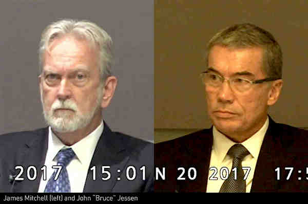 James Mitchell and Bruce Jessen as they appeared in videos of their depositions as part of the court case against them in 2017.