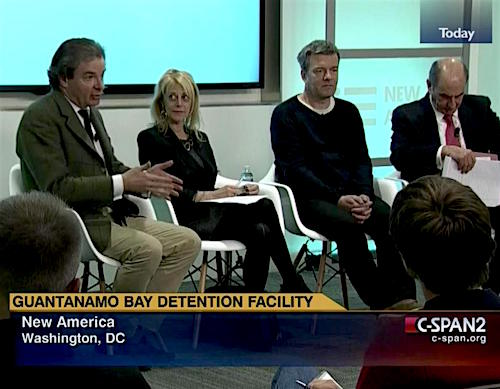 A panel discussion about the future of Guantanamo at New America in Washington, D.C. on January 11, 2016 with, from L to R: Peter Bergen, Karen Greenberg, Andy Worthington and Tom Wilner.