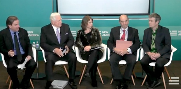The panel at New America on Jan. 11, 2017, the 15th anniversary of the opening of Guantanamo. From L to R: Peter Bergen, Jim Moran, Rosa Brooks, Tom Wilner and Andy Worthington.