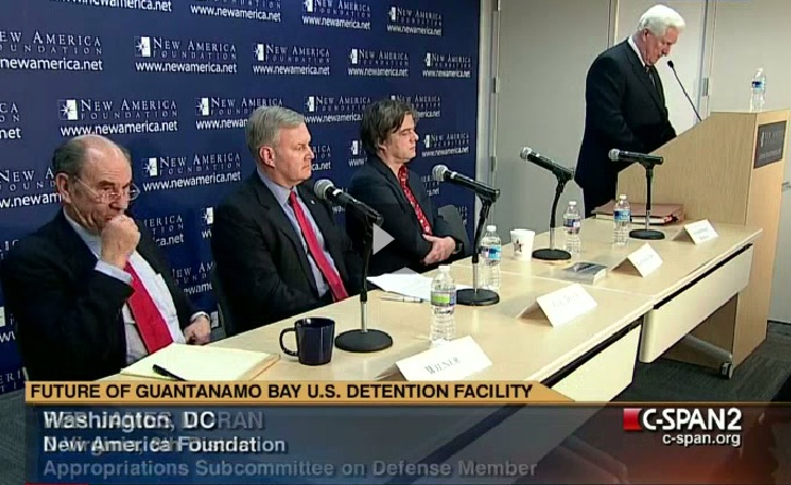 A panel at the New America Foundation on January 11, 2012, discussing Guantanamo on the 10th anniversary of the opening of the prison. From L to R: Tom Wilner, Morris Davis, Andy Worthington and Jim Moran.