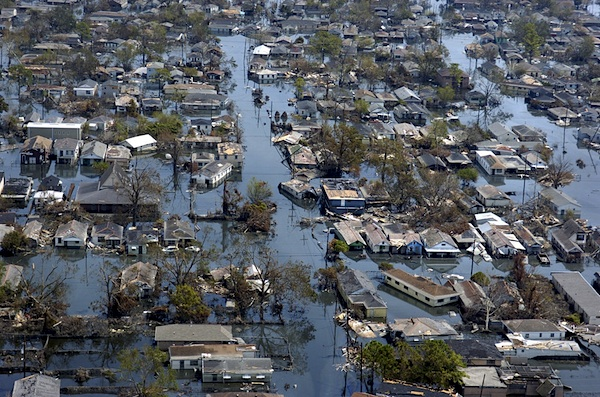 The heavily flooded Ninth Ward of New Orleans 10 days after Hurricane Katrina, September 2005 (Photo: Kathy Anderson, Times-Picayune).