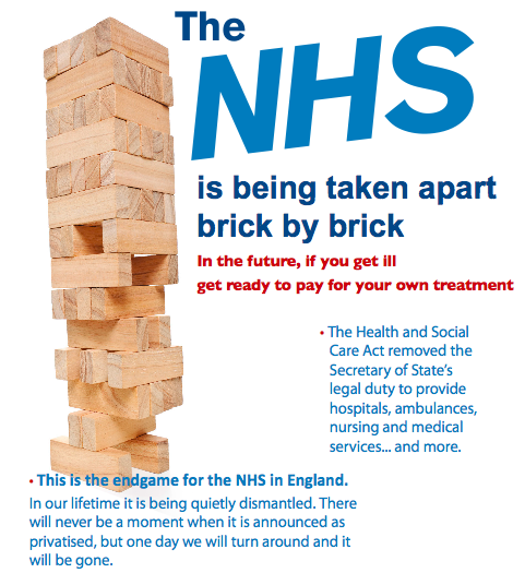 Image and text from a flier made by the Campaign for the NHS Reinstatement Bill, promoting a Private Member's bill put forward by Caroline Lucas MP in 2015 and currently supported by 77 MPs.
