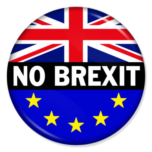 A No Brexit badge, available via eBay.