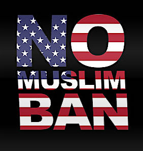 No Muslim Ban: a poster by Redbubble.