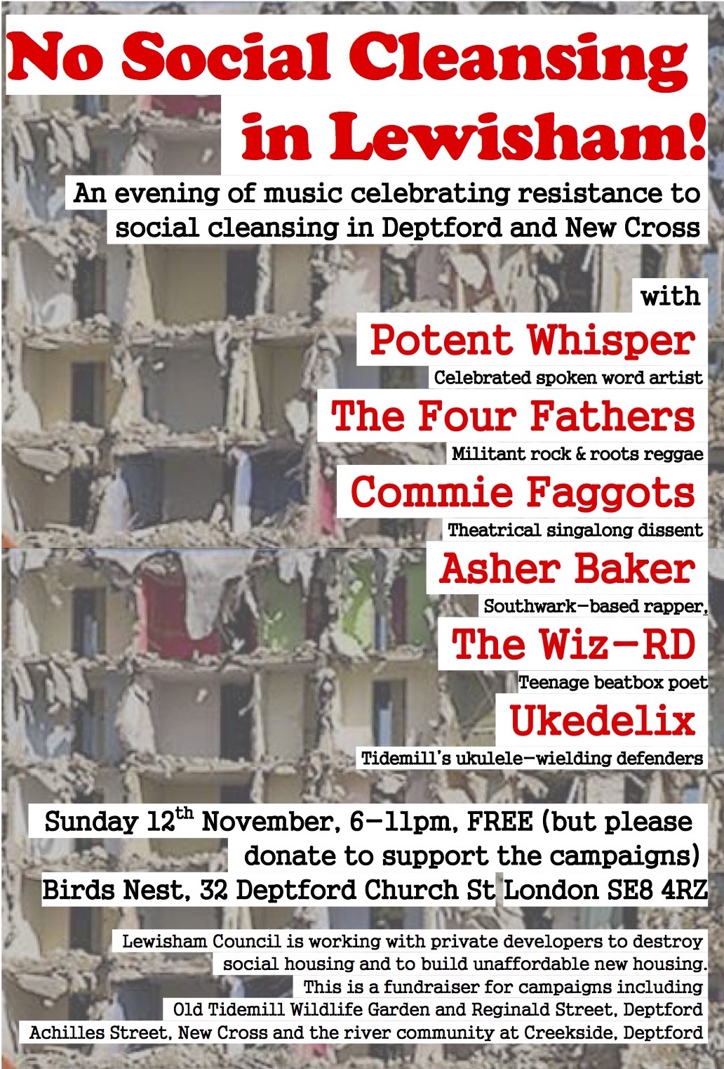 The poster for 'No Social Cleansing in Lewisham' at the Birds Nest in Deptford on November 12, 2017.