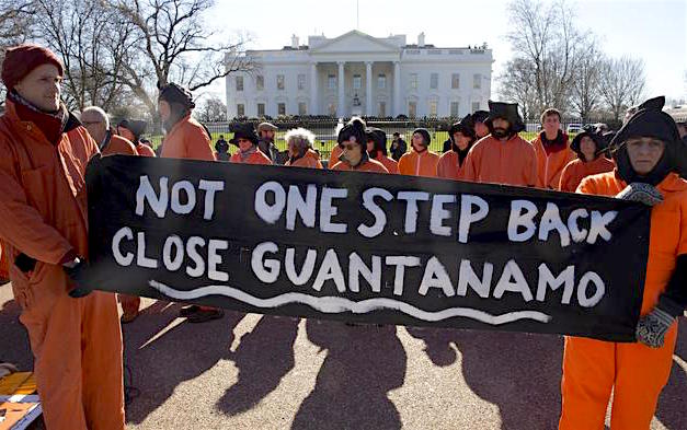 """Not one step back: Close Guantanamo"" - campaigners outside the White House during the Obama presidency, with a message that may be even more significant under Donald Trump."