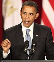 Barack Obama delivering his speech in Cairo, June 4, 2009