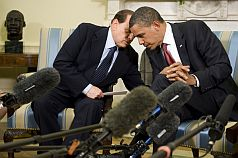 Silvio Berlusconi and Barack Obama at the White House