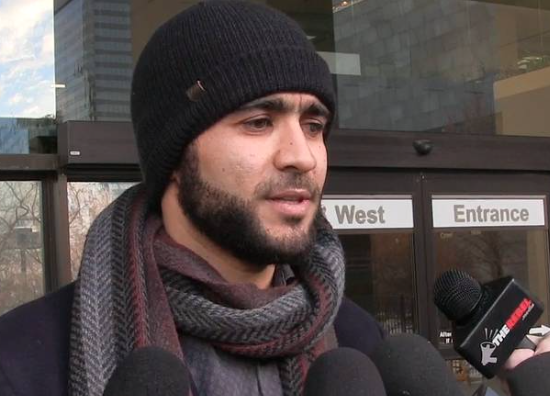 A screenshot from a video of former Guantanamo prisoner Omar Khadr on December 13, 2018, outside the court in Edmonton where he was unsuccessfully seeking a loosening of his bail conditions.