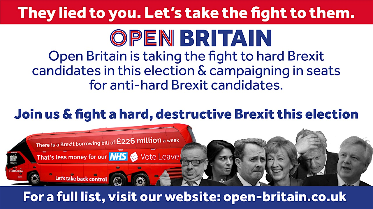An advert for Open Britain's new campaign aimed at upsetting pro-Brexit MPs in the General Election on June 8, 2017.