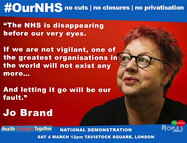 Comedian (and former psychiatric nurse) Jo Brand showing her support for the NHS and for the national demonstration in support of the NHS on Saturday March 4, 2017.