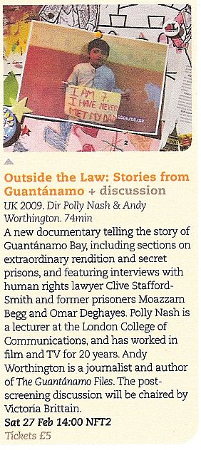 Outside the Law: Stories from Guantanamo - entry from the BFI programme