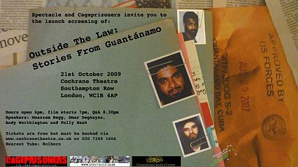 Outside the Law: Stories from Guantanamo - flier for the launch