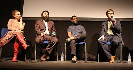 "Polly Nash, Omar Deghayes, Moazzam Begg and Andy Worthington discussing Guantanamo after the launch of ""Outside the Law: Stories from Guantanamo,"" London, October 21, 2009"