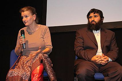 "Polly Nash and Omar Deghayes discussing Guantanamo after the launch of ""Outside the Law: Stories from Guantanamo,"" London, October 21, 2009"