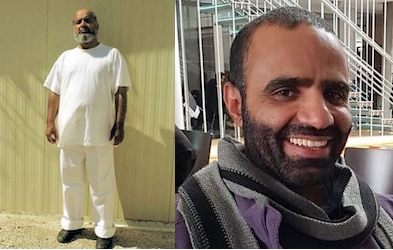 Saifullah Paracha, photographed at Guantanamo several years ago (wearing white to show his status as a well-behaved prisoner) and Mansoor Adayfi photographed in Serbia when he was allowed to use the central library to study.