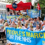 "On Saturday September 6, 2014, around 30 campaigners for the NHS arrived in London after a three-week, 300-mile People's March for the NHS that started in Jarrow, in Tyne and Wear, on August 16. The campaigners -- from Darlington and led by the ""Darlo Mums,"" a group of concerned mothers who had first conceived the protest -- arrived at Red Lion Square in Holborn at 2pm where they met up with thousands of other NHS supporters and then marched to Trafalgar Square for a rally. This photo shows the Jarrow marchers just after their arrival at Red Lion Square (Photo: Andy Worthington)."