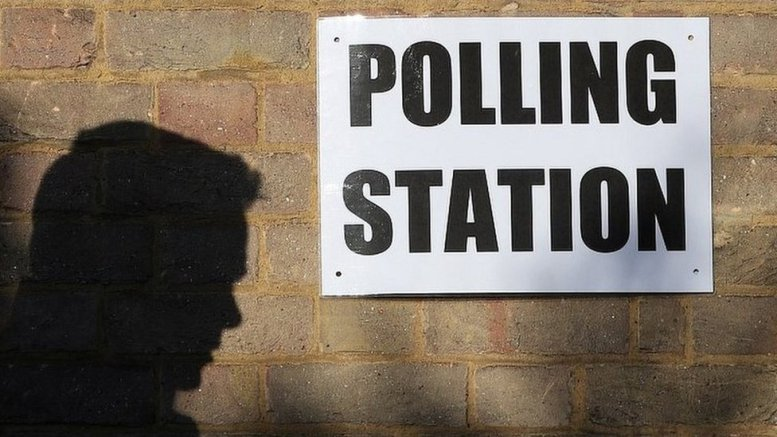 An image of a voter and a polling station sign.