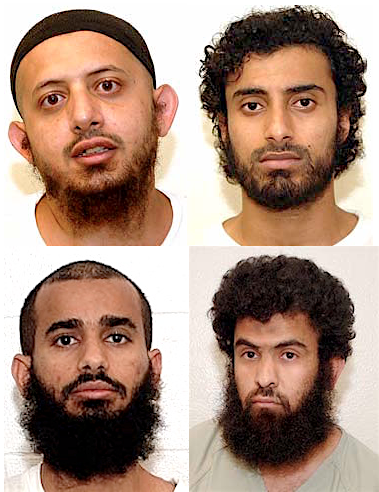 Four Guantanamo prisoners whose cases are still nominally being reviewed by Periodic Review Boards. Clockwise from top left: Omar al-Rammah, awaiting a decision in his review after 16 months, and Khalid Qasim, Abdul Rahim Ghulam Rabbani and Uthman Mohammed Uthman, who all had their ongoing imprisonment upheld after reviews this year.