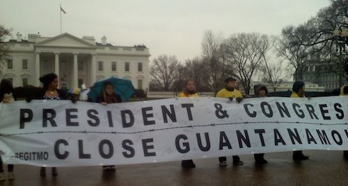 """President and Congress: Close Guantanamo"" - a banner from the protest calling for the closure of Guantanamo outside the White House on January 11, 2012, the 10th anniversary of the opening of the prison."