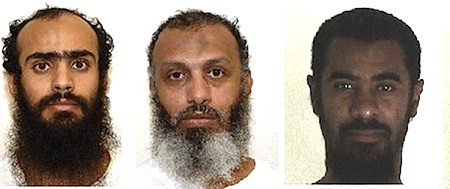 Three of the five prisoners released from Guantanamo and given new homes in the United Arab Emirates on November 13, 2015. From L to R: Ali al-Razihi, Khalid al-Qadasi and Sulaiman al-Nahdi.