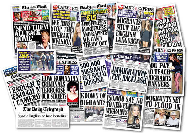 A selection of racist headlines from the UK's tabloid newspapers, as highlighted in a Hope Not Hate feature in January 2014.