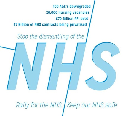 Rally for the NHS: the logo for a rally outside the Department of helath on Tuesday November 26, 2013.